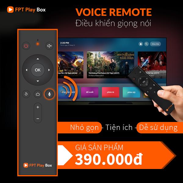 Bộ điều khiển voice remote trên fpt play box