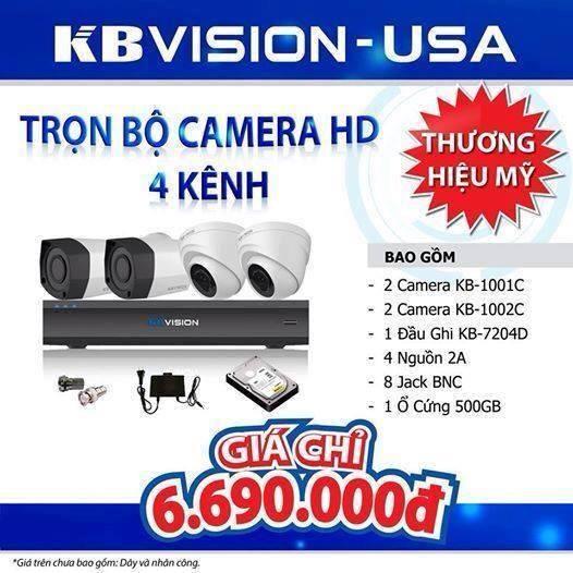 Chi phí đặt mua 4 camera Kbvision là bao nhiêu