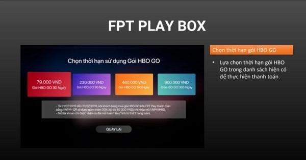 Cách mua gói HBO trên FPT Play BOX