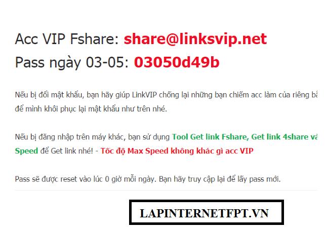 Cách sử dụng tài khoản Fshare Vip Quên mật khẩu