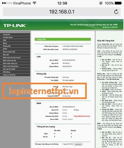 Đăng nhập để cài đặt thông sốTpLink TL-WR740N