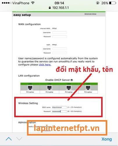 Tiến hành đổi tên wifiViettel ZTE F606