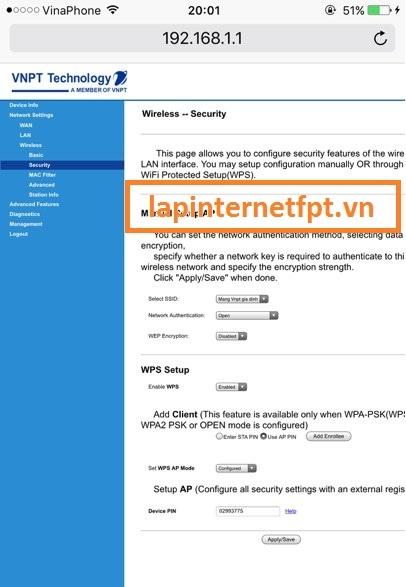 Tiến hành đổi mật khẩu wifi Vnpt