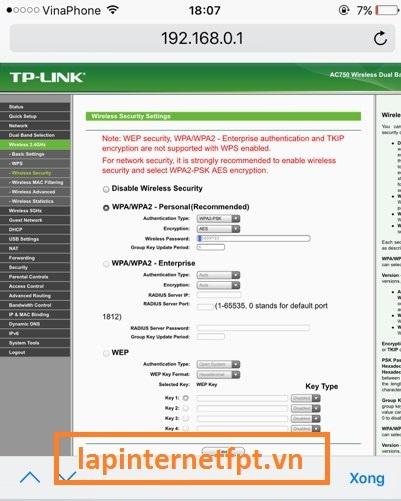 Tiến hành đổi mật khẩu wifi Tplink Acher C2