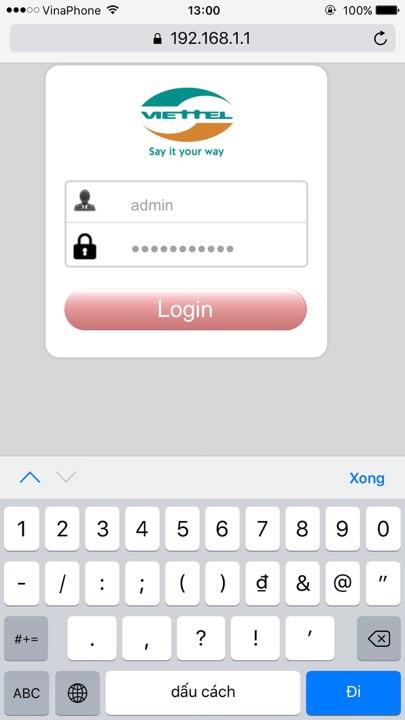 đổi mật khẩu wifi của modem Viettel H646FW